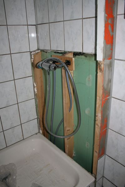 Wall-less shower in starboard toilet