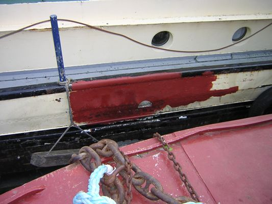 Patched side of boat