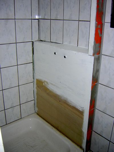 Shower wall in progress