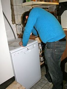 James installing the new dishwasher