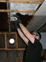 James pulling down the ceiling
